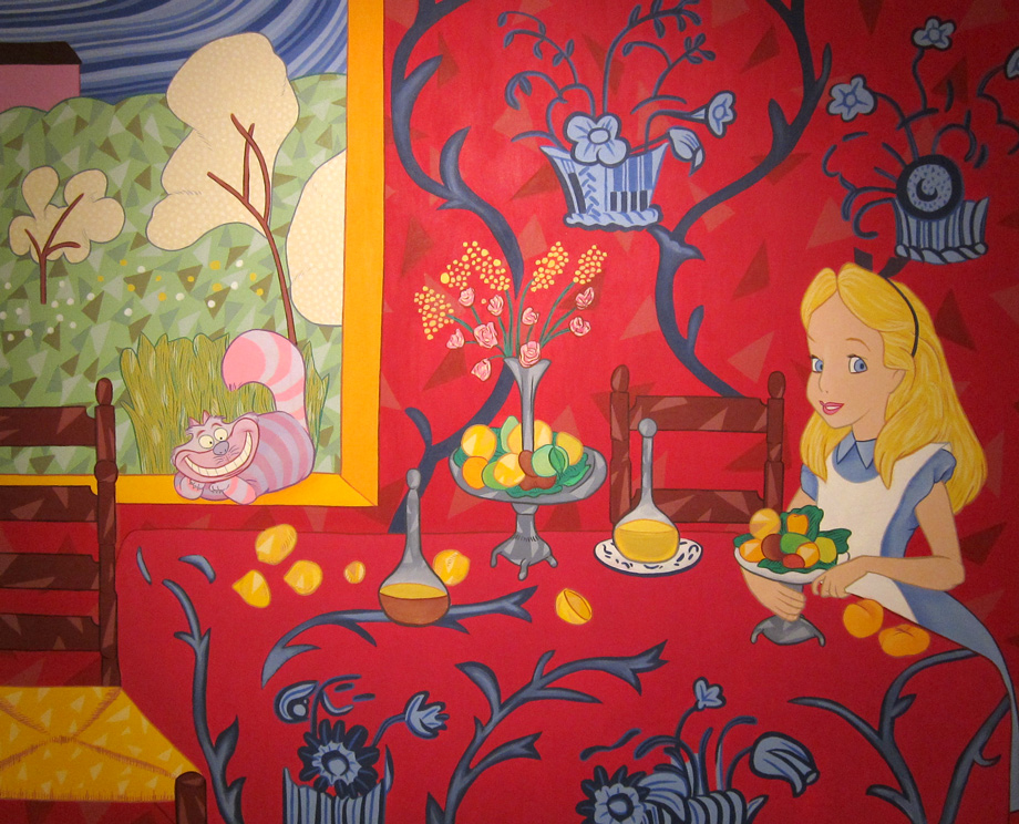 Mostly red canvas of Alice in Wonderland merged with Matisse
